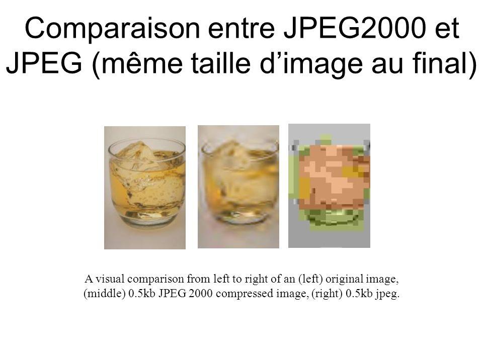 Comparaison entre JPEG2000 et JPEG (même taille d'image au final) A visual comparison from left to right of an (left) original image, (middle) 0.5kb J