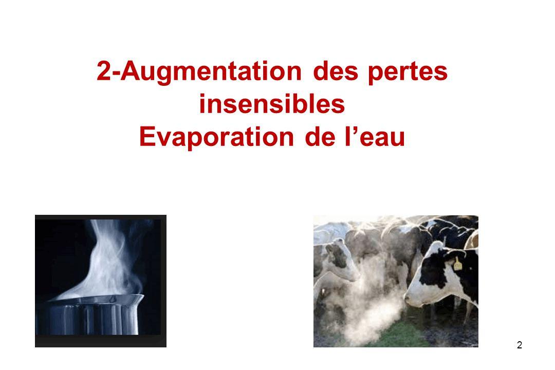 Perte par évaporation d'eau Lorsque les pertes sensibles ne permettent plus de maintenir la thermolyse à une valeur adéquate par rapport à la thermogénèse, l'organisme va évaporer de l'eau L'évaporation d'eau est un processus efficace pour éliminer de la chaleur : 2400J par g d'eau passant de l'état liquide à l'état gazeux Cette modalité de thermolyse exige des réserves d'eau –Grandes différences interspécifiques liées au poids corporel 3