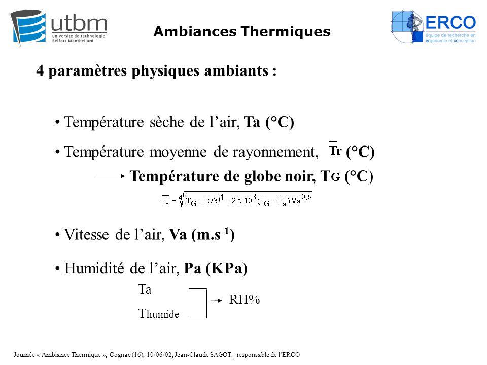 Journée « Ambiance Thermique », Cognac (16), 10/06/02, Jean-Claude SAGOT, responsable de l'ERCO Ambiances Thermiques 4 paramètres physiques ambiants :