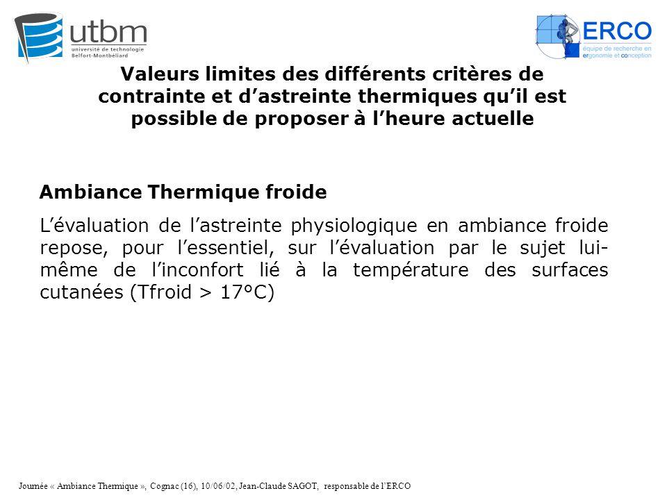 Journée « Ambiance Thermique », Cognac (16), 10/06/02, Jean-Claude SAGOT, responsable de l'ERCO Ambiance Thermique froide L'évaluation de l'astreinte