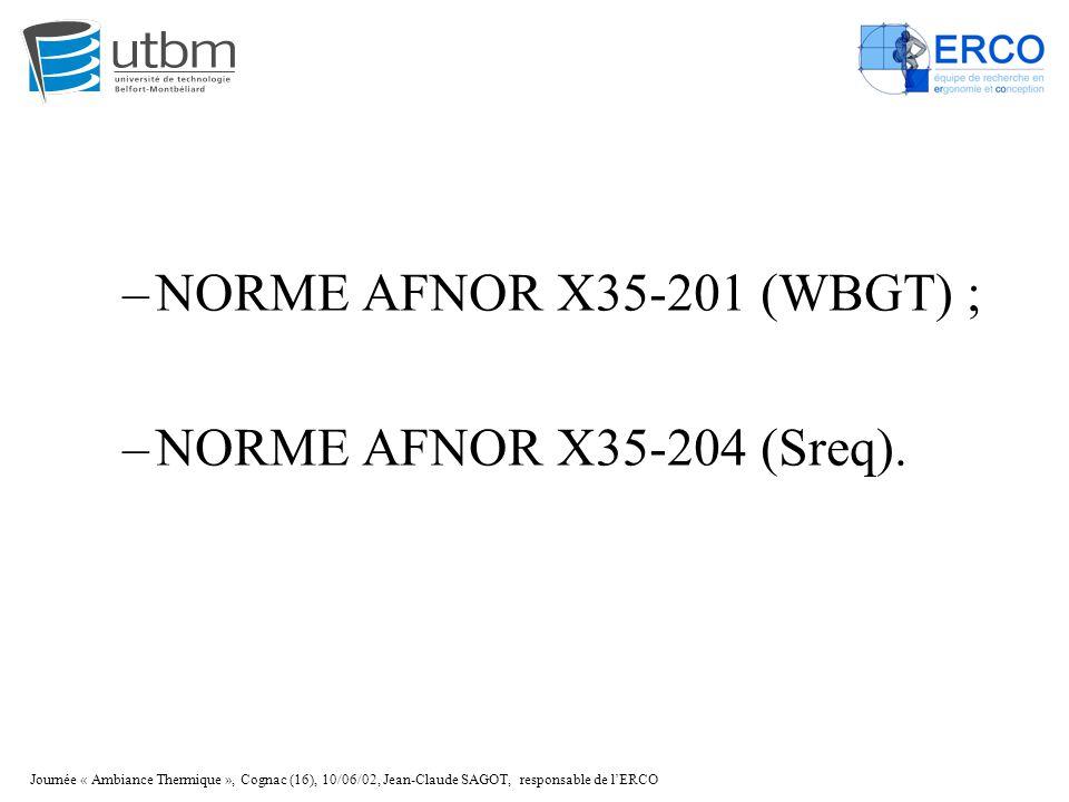 Journée « Ambiance Thermique », Cognac (16), 10/06/02, Jean-Claude SAGOT, responsable de l'ERCO –NORME AFNOR X35-201 (WBGT) ; –NORME AFNOR X35-204 (Sr
