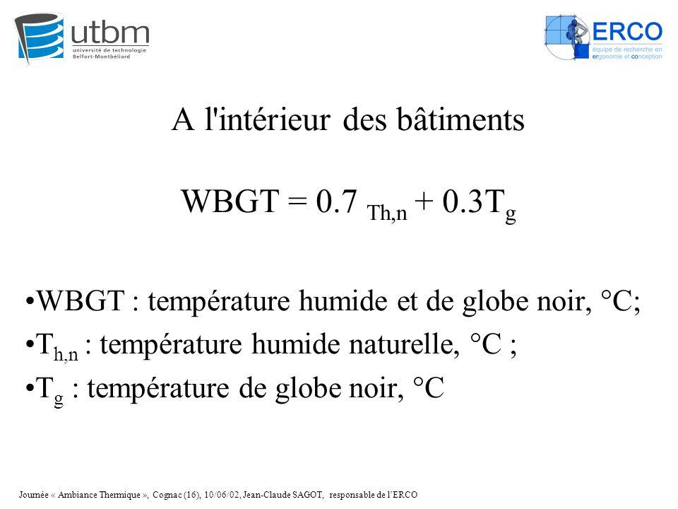 Journée « Ambiance Thermique », Cognac (16), 10/06/02, Jean-Claude SAGOT, responsable de l'ERCO A l'intérieur des bâtiments WBGT = 0.7 Th,n + 0.3T g W