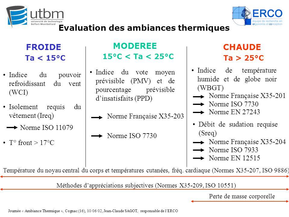 Journée « Ambiance Thermique », Cognac (16), 10/06/02, Jean-Claude SAGOT, responsable de l'ERCO Evaluation des ambiances thermiques FROIDE MODEREE CHA