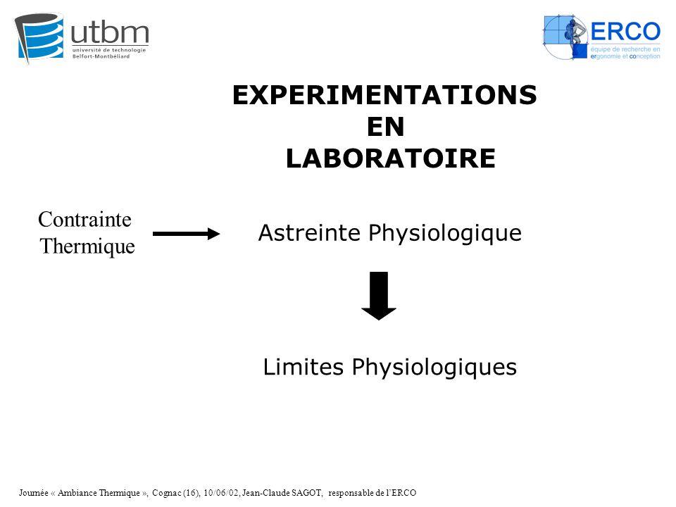 Journée « Ambiance Thermique », Cognac (16), 10/06/02, Jean-Claude SAGOT, responsable de l'ERCO EXPERIMENTATIONS EN LABORATOIRE Astreinte Physiologiqu