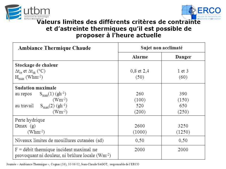 Journée « Ambiance Thermique », Cognac (16), 10/06/02, Jean-Claude SAGOT, responsable de l'ERCO Sujet non acclimaté AlarmeDanger Stockage de chaleur ∆