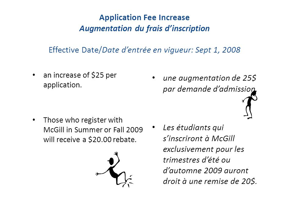 Application Fee Increase Augmentation du frais d'inscription Effective Date/Date d'entrée en vigueur: Sept 1, 2008 an increase of $25 per application.