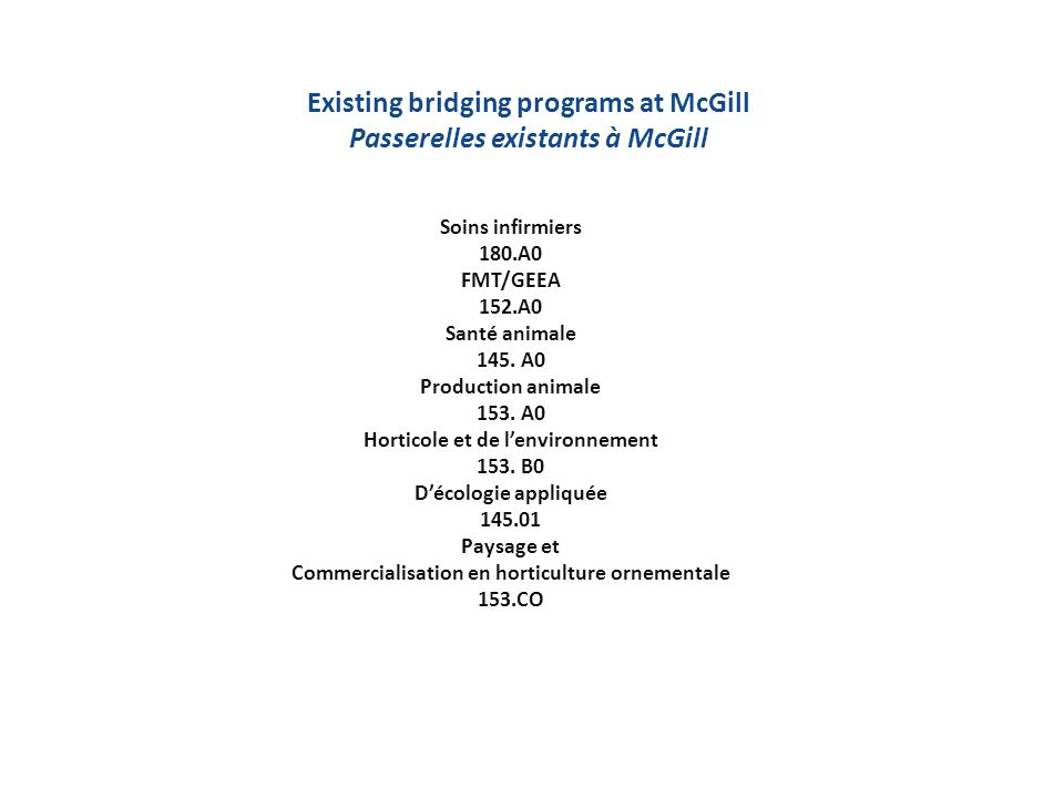 Existing bridging programs at McGill Passerelles existants à McGill Soins infirmiers 180.A0 FMT/GEEA 152.A0 Santé animale 145.