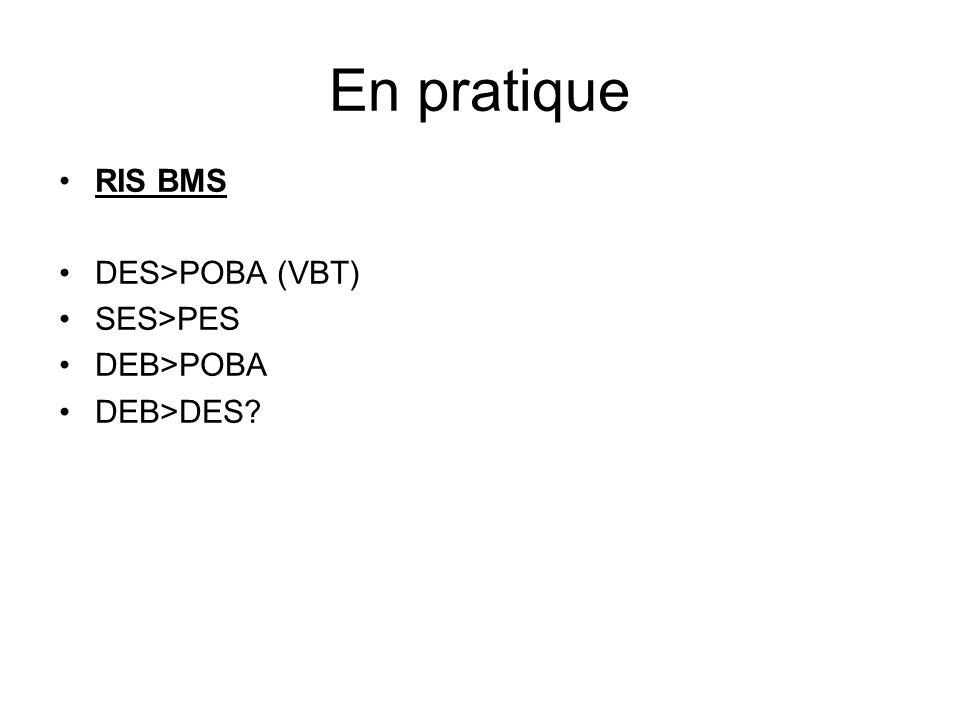 En pratique RIS BMS DES>POBA (VBT) SES>PES DEB>POBA DEB>DES?