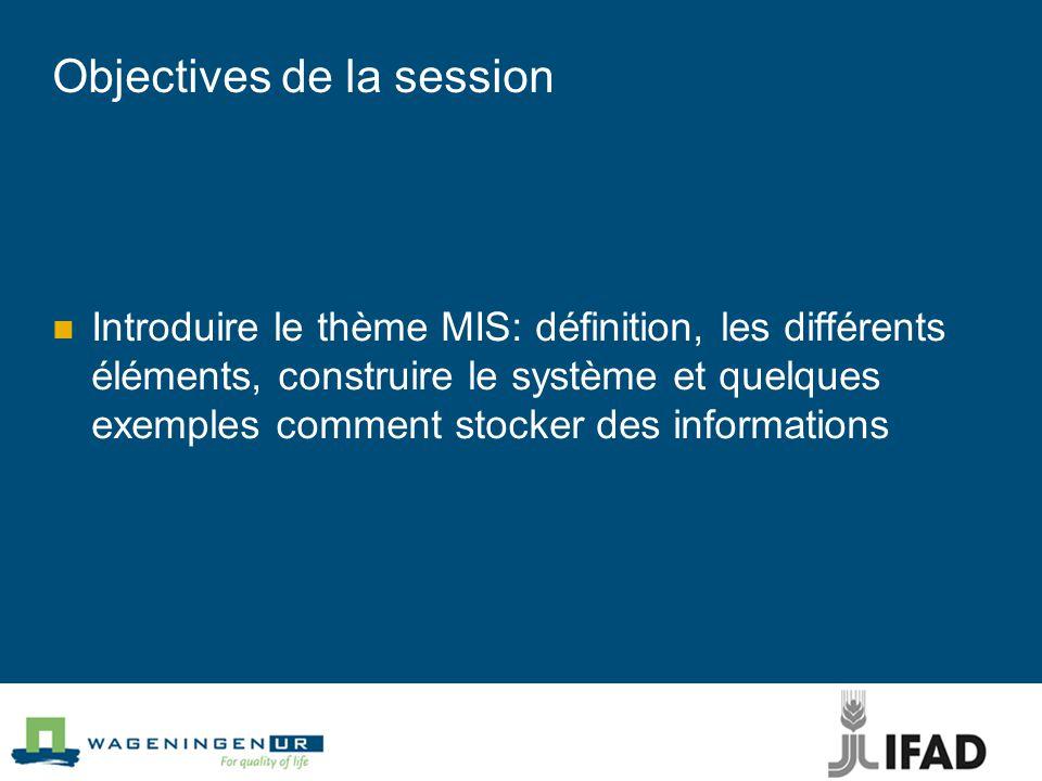 Objectives de la session Introduire le thème MIS: définition, les différents éléments, construire le système et quelques exemples comment stocker des informations