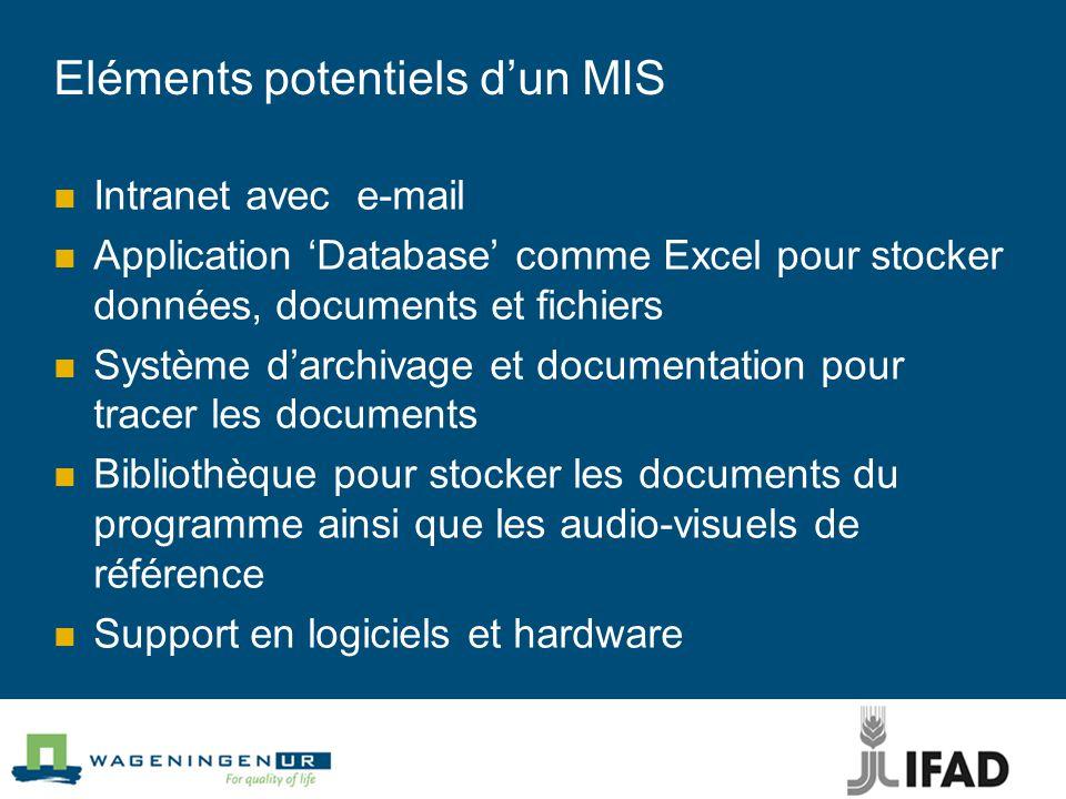 Eléments potentiels d'un MIS Intranet avec e-mail Application 'Database' comme Excel pour stocker données, documents et fichiers Système d'archivage et documentation pour tracer les documents Bibliothèque pour stocker les documents du programme ainsi que les audio-visuels de référence Support en logiciels et hardware
