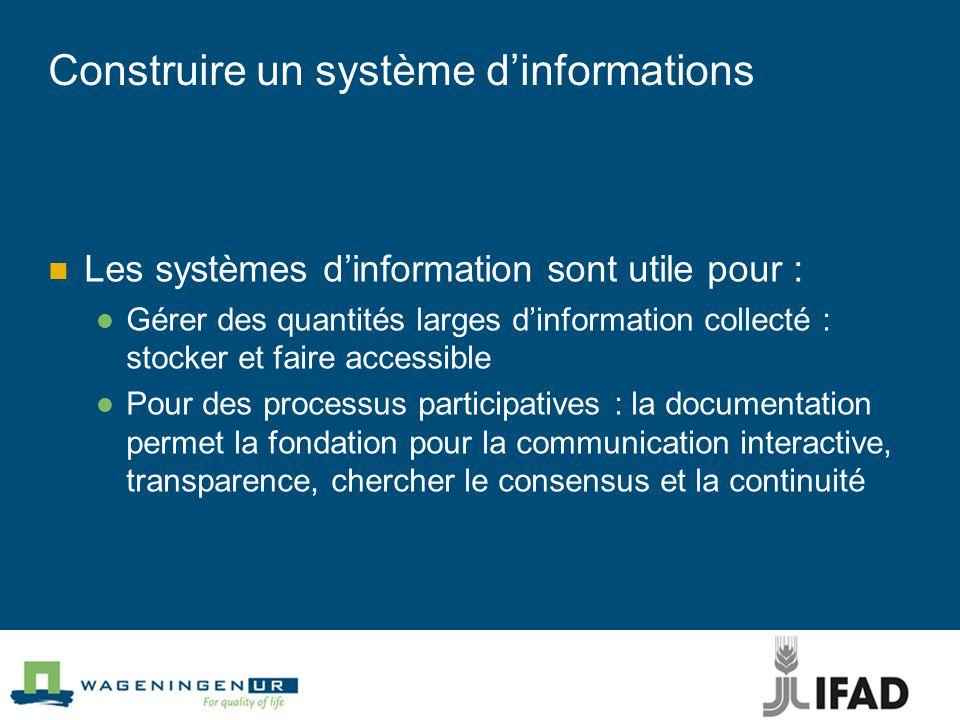 Construire un système d'informations Les systèmes d'information sont utile pour : Gérer des quantités larges d'information collecté : stocker et faire accessible Pour des processus participatives : la documentation permet la fondation pour la communication interactive, transparence, chercher le consensus et la continuité