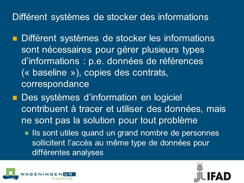 Différent systèmes de stocker des informations Différent systèmes de stocker les informations sont nécessaires pour gérer plusieurs types d'informations : p.e.