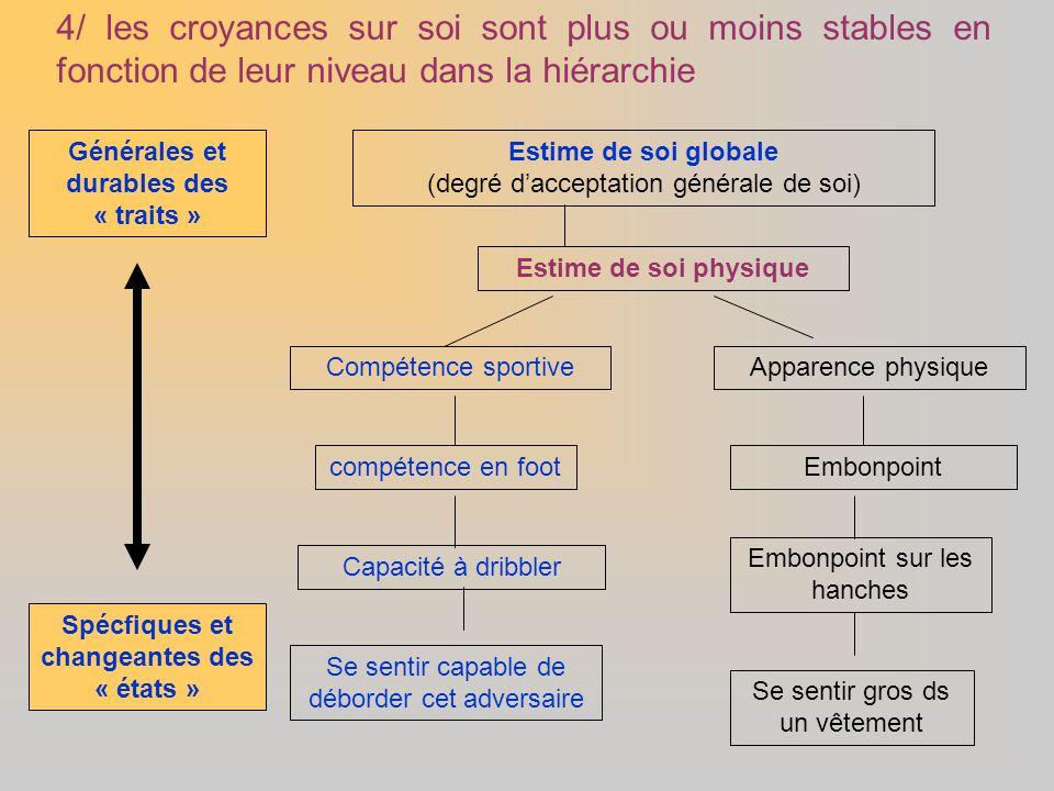 Estime de soi globale (degré d'acceptation générale de soi) Estime de soi physique Compétence sportiveApparence physique compétence en foot Embonpoint