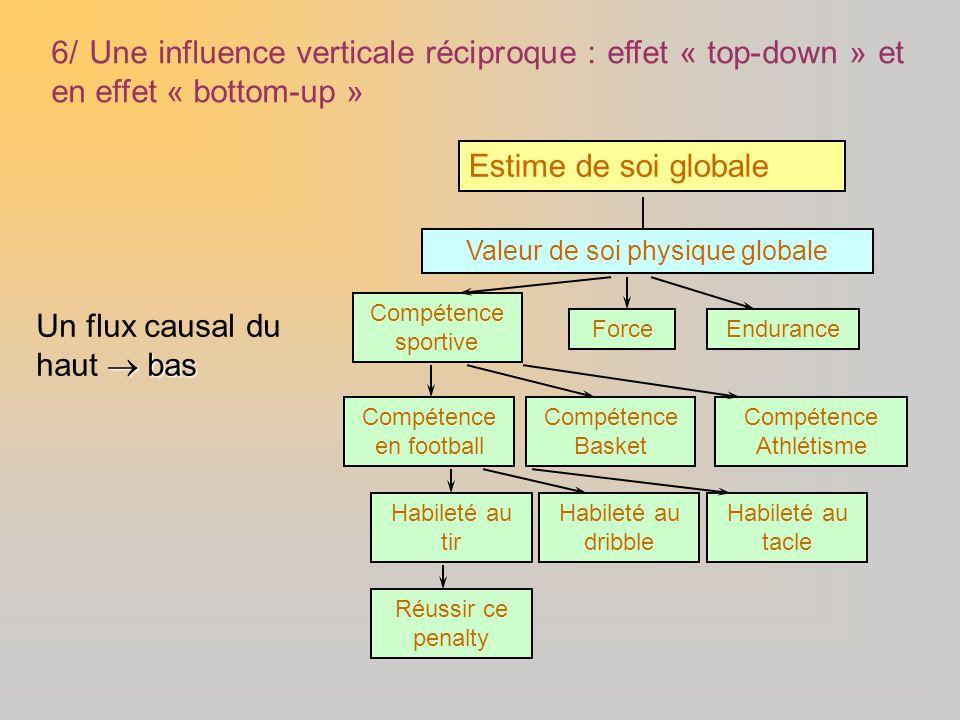 6/ Une influence verticale réciproque : effet « top-down » et en effet « bottom-up » Estime de soi globale Valeur de soi physique globale Compétence s