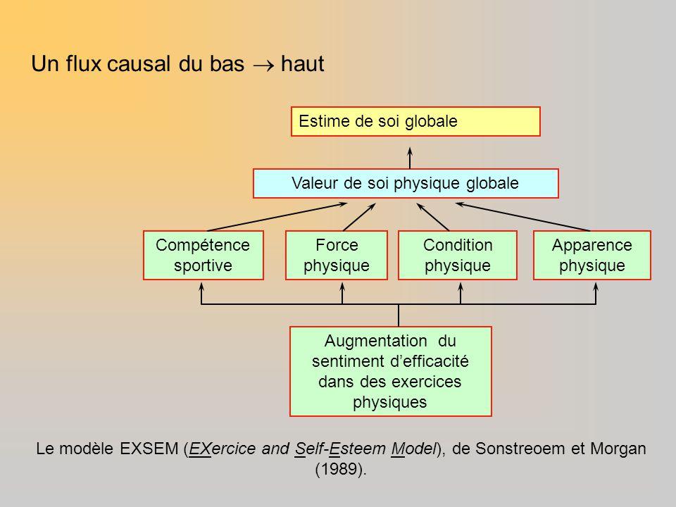 Estime de soi globale Valeur de soi physique globale Compétence sportive Apparence physique Augmentation du sentiment d'efficacité dans des exercices