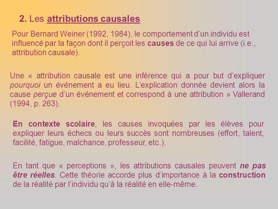 2. Les attributions causales Pour Bernard Weiner (1992, 1984), le comportement d'un individu est influencé par la façon dont il perçoit les causes de