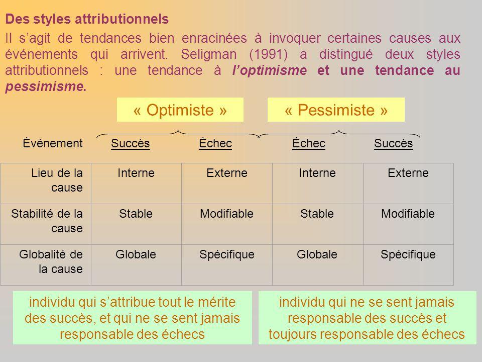 Des styles attributionnels Il s'agit de tendances bien enracinées à invoquer certaines causes aux événements qui arrivent. Seligman (1991) a distingué