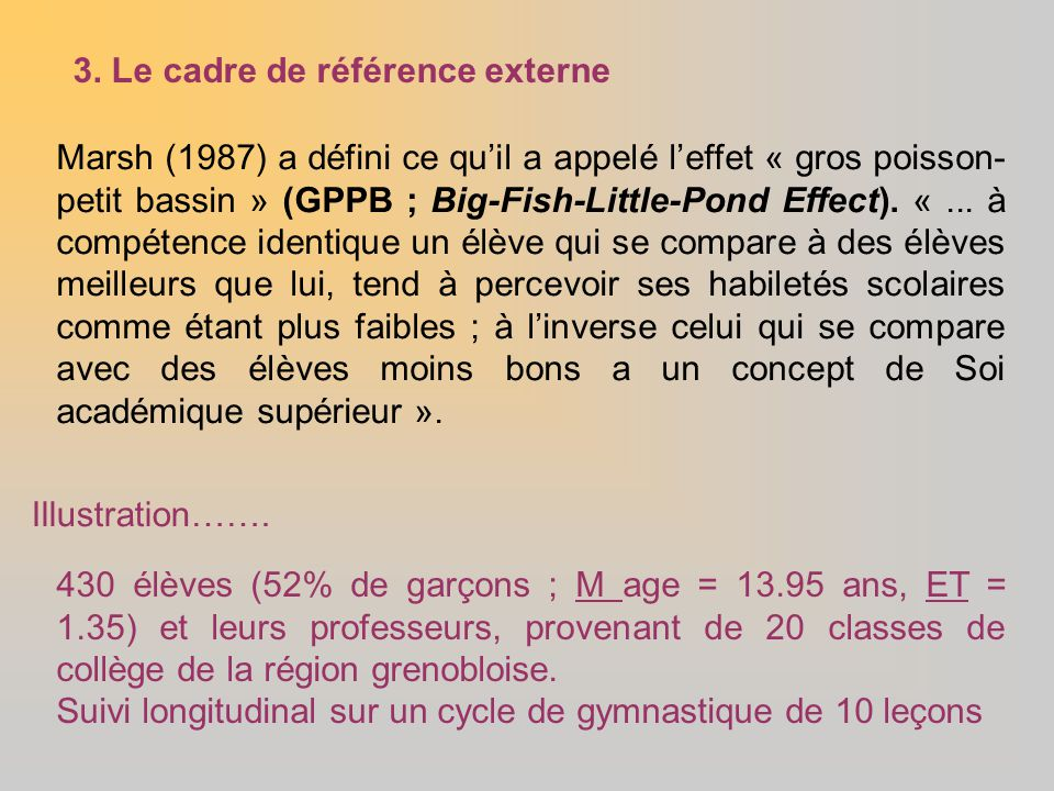 Marsh (1987) a défini ce qu'il a appelé l'effet « gros poisson- petit bassin » (GPPB ; Big-Fish-Little-Pond Effect). «... à compétence identique un él