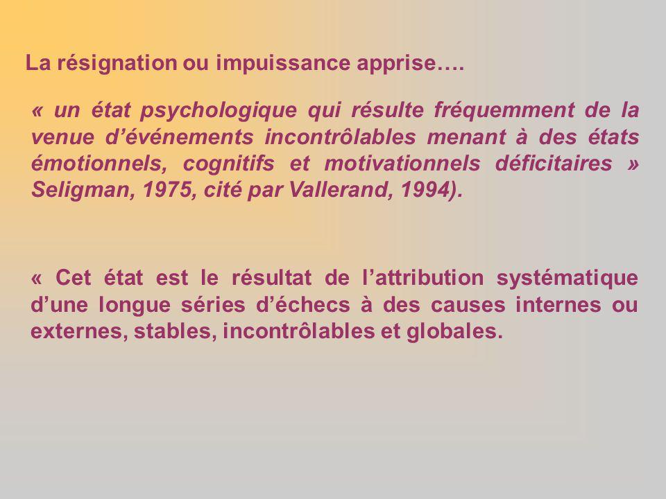 La résignation ou impuissance apprise…. « un état psychologique qui résulte fréquemment de la venue d'événements incontrôlables menant à des états émo