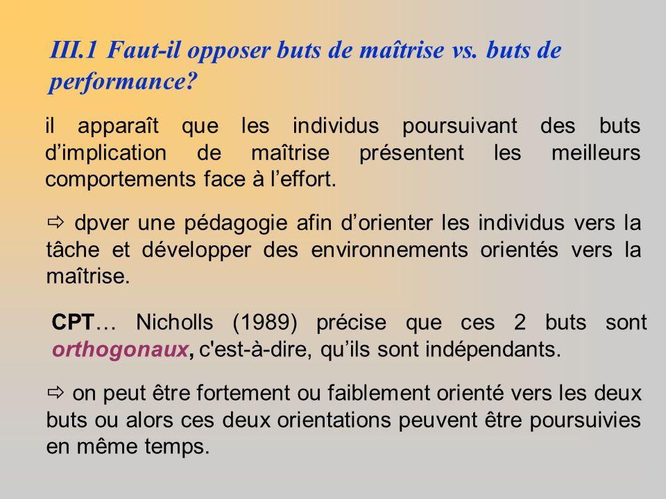 III.1 Faut-il opposer buts de maîtrise vs. buts de performance? il apparaît que les individus poursuivant des buts d'implication de maîtrise présenten