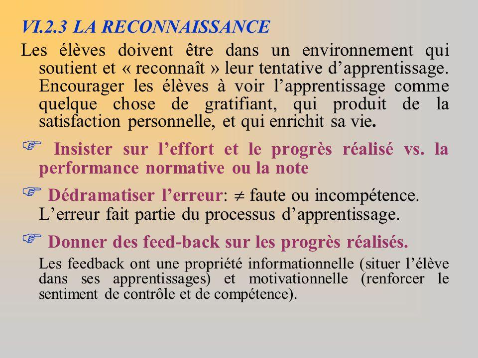 VI.2.3 LA RECONNAISSANCE Les élèves doivent être dans un environnement qui soutient et « reconnaît » leur tentative d'apprentissage. Encourager les él