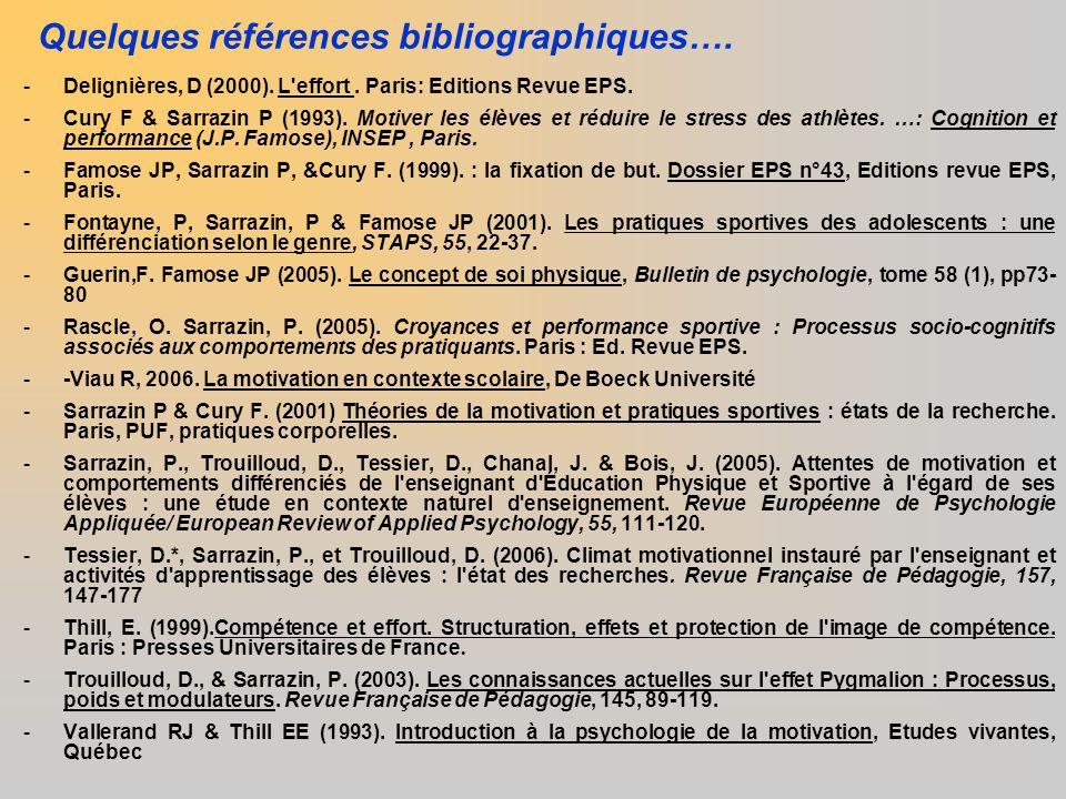 Quelques références bibliographiques…. -Delignières, D (2000). L'effort. Paris: Editions Revue EPS. -Cury F & Sarrazin P (1993). Motiver les élèves et
