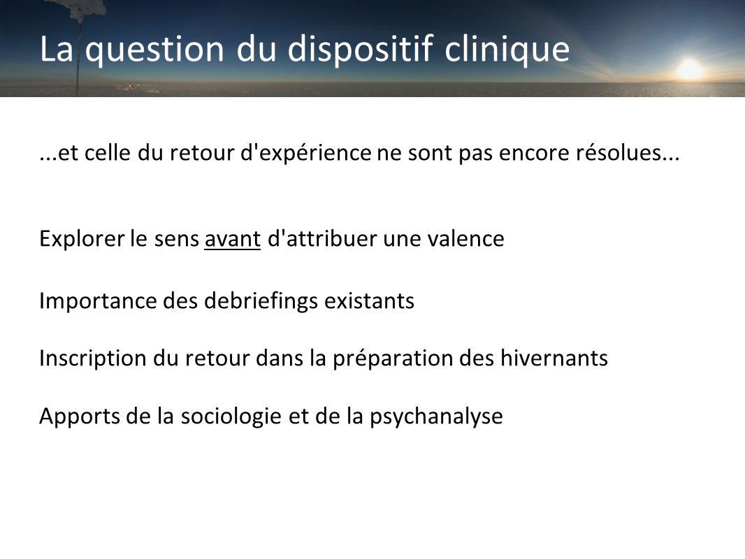 La question du dispositif clinique...et celle du retour d expérience ne sont pas encore résolues...