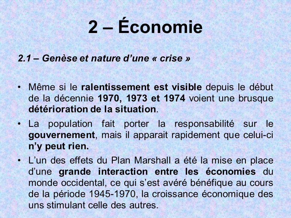 2 – Économie 2.1 – Genèse et nature d'une « crise » Même si le ralentissement est visible depuis le début de la décennie 1970, 1973 et 1974 voient une