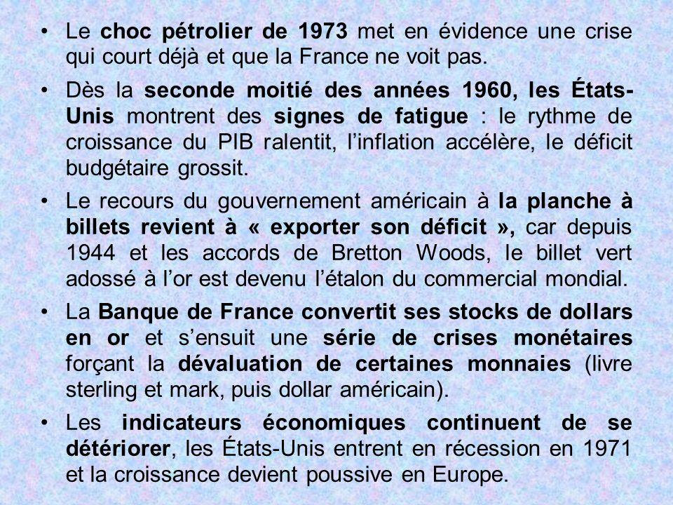 Le choc pétrolier de 1973 met en évidence une crise qui court déjà et que la France ne voit pas. Dès la seconde moitié des années 1960, les États- Uni
