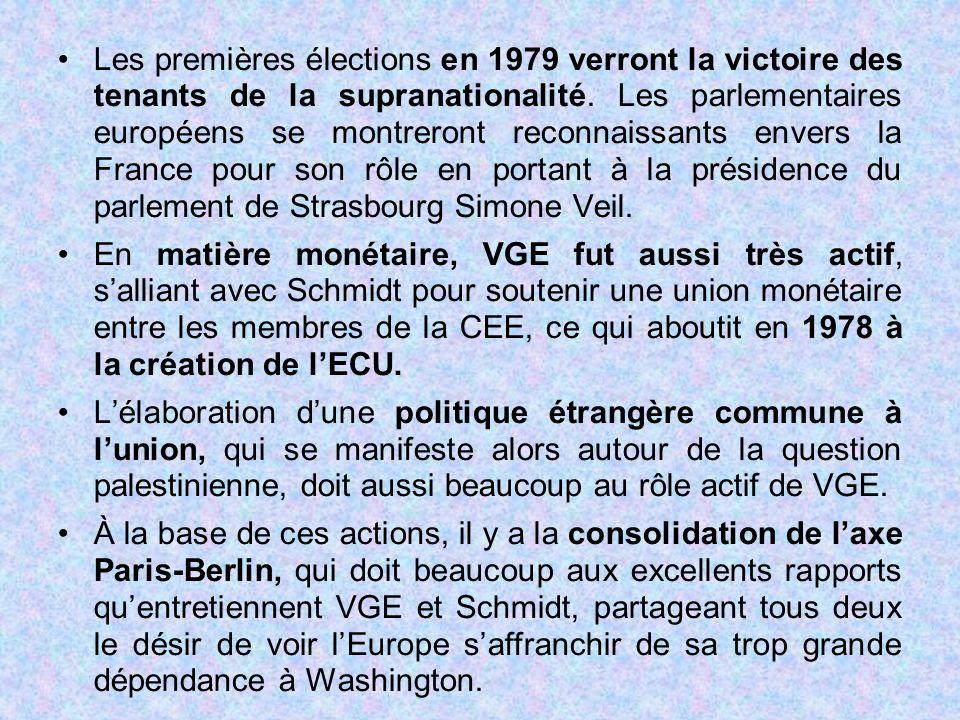 Les premières élections en 1979 verront la victoire des tenants de la supranationalité. Les parlementaires européens se montreront reconnaissants enve