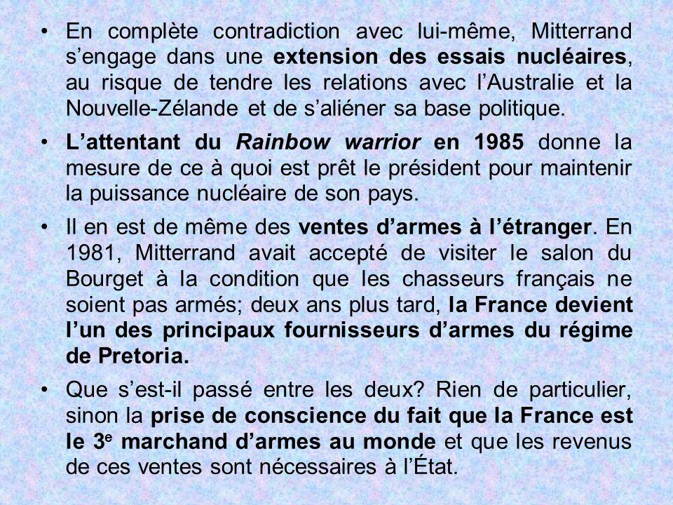 En complète contradiction avec lui-même, Mitterrand s'engage dans une extension des essais nucléaires, au risque de tendre les relations avec l'Austra