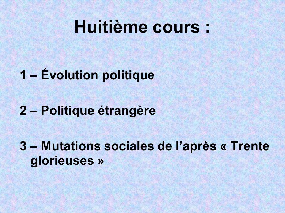 Huitième cours : 1 – Évolution politique 2 – Politique étrangère 3 – Mutations sociales de l'après « Trente glorieuses » 4 — Politique étrangère