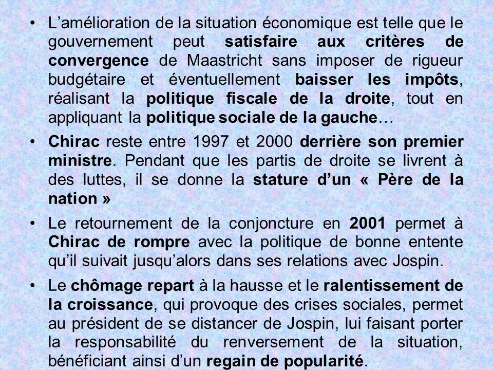 L'amélioration de la situation économique est telle que le gouvernement peut satisfaire aux critères de convergence de Maastricht sans imposer de rigu