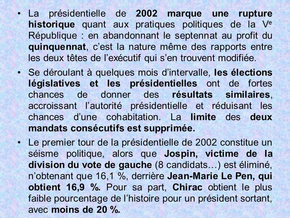 La présidentielle de 2002 marque une rupture historique quant aux pratiques politiques de la V e République : en abandonnant le septennat au profit du