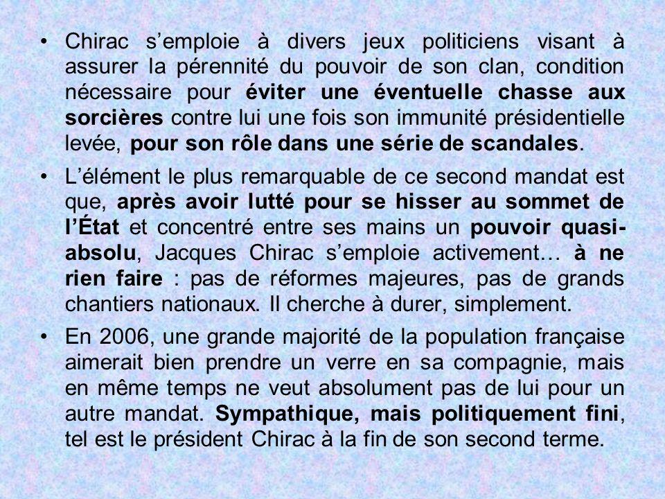 Chirac s'emploie à divers jeux politiciens visant à assurer la pérennité du pouvoir de son clan, condition nécessaire pour éviter une éventuelle chass