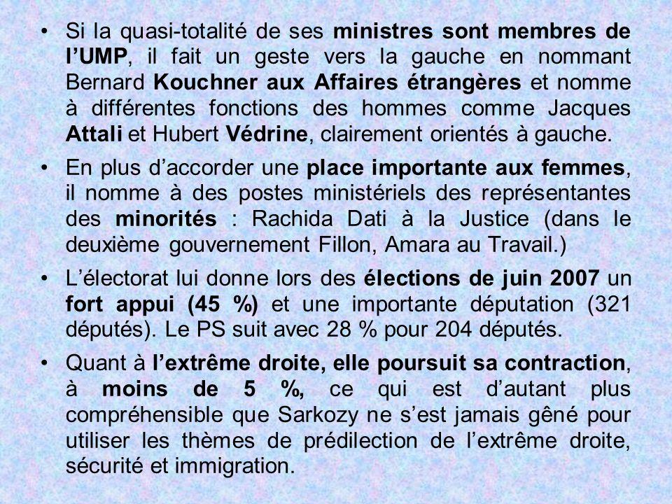 Si la quasi-totalité de ses ministres sont membres de l'UMP, il fait un geste vers la gauche en nommant Bernard Kouchner aux Affaires étrangères et no