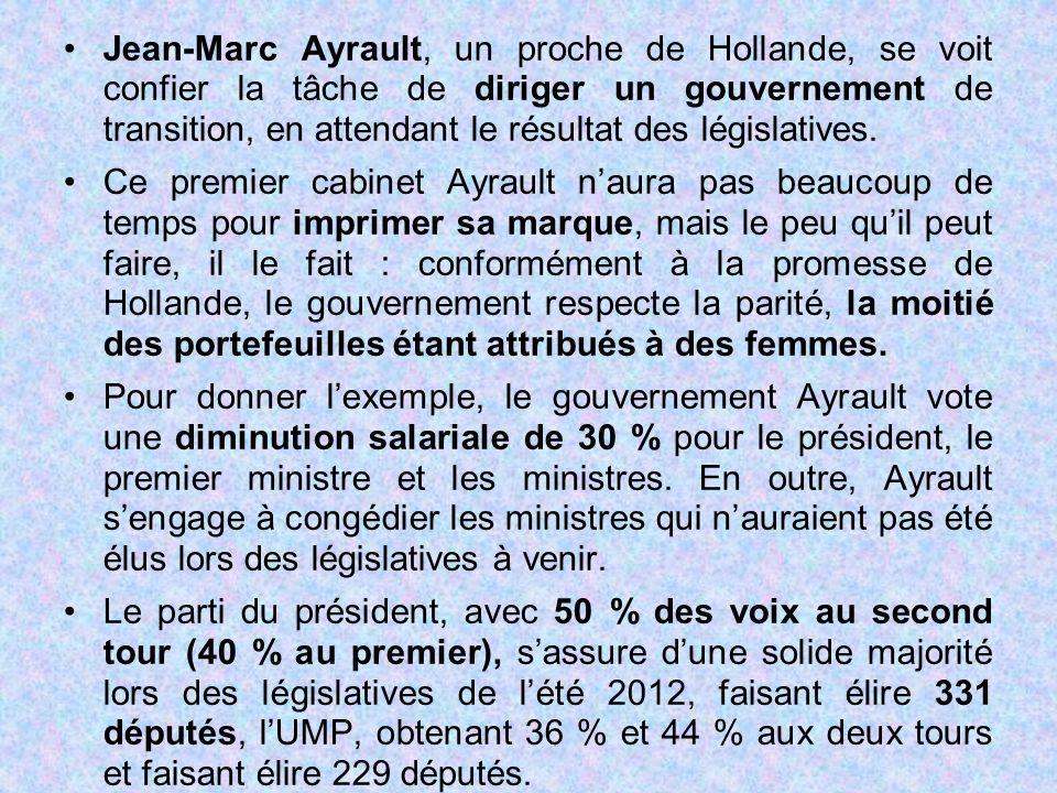 Jean-Marc Ayrault, un proche de Hollande, se voit confier la tâche de diriger un gouvernement de transition, en attendant le résultat des législatives