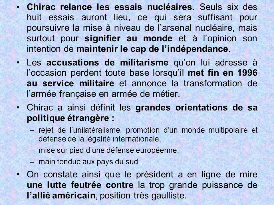 Chirac relance les essais nucléaires. Seuls six des huit essais auront lieu, ce qui sera suffisant pour poursuivre la mise à niveau de l'arsenal nuclé