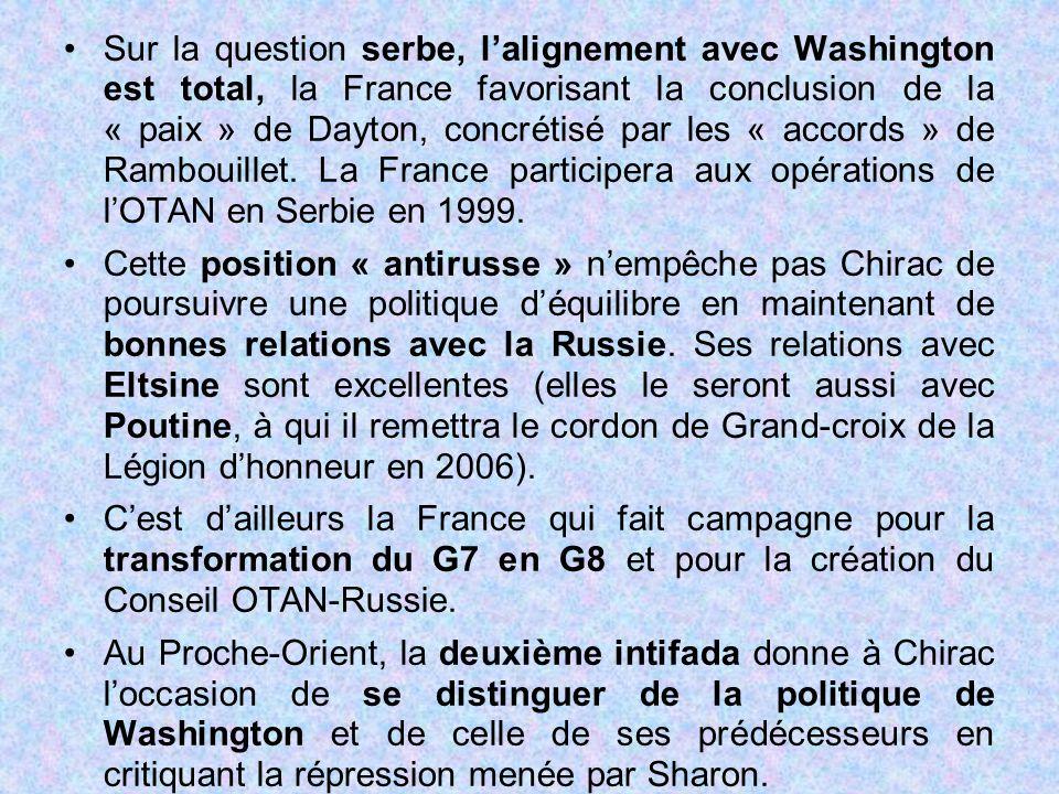 Sur la question serbe, l'alignement avec Washington est total, la France favorisant la conclusion de la « paix » de Dayton, concrétisé par les « accor