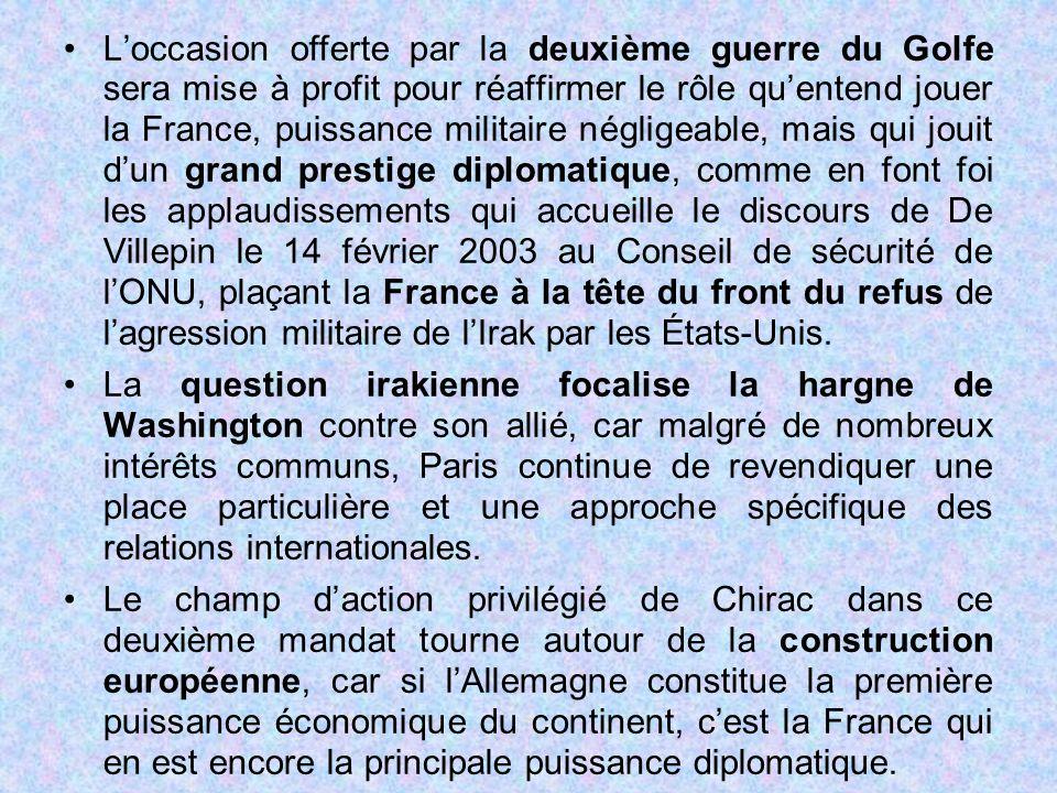L'occasion offerte par la deuxième guerre du Golfe sera mise à profit pour réaffirmer le rôle qu'entend jouer la France, puissance militaire négligeab