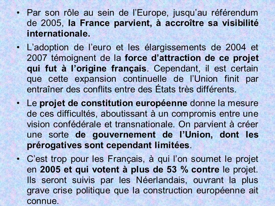 Par son rôle au sein de l'Europe, jusqu'au référendum de 2005, la France parvient, à accroître sa visibilité internationale. L'adoption de l'euro et l
