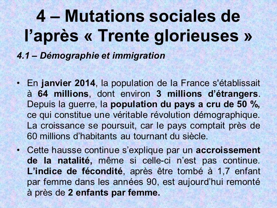 4 – Mutations sociales de l'après « Trente glorieuses » 4.1 – Démographie et immigration En janvier 2014, la population de la France s'établissait à 6