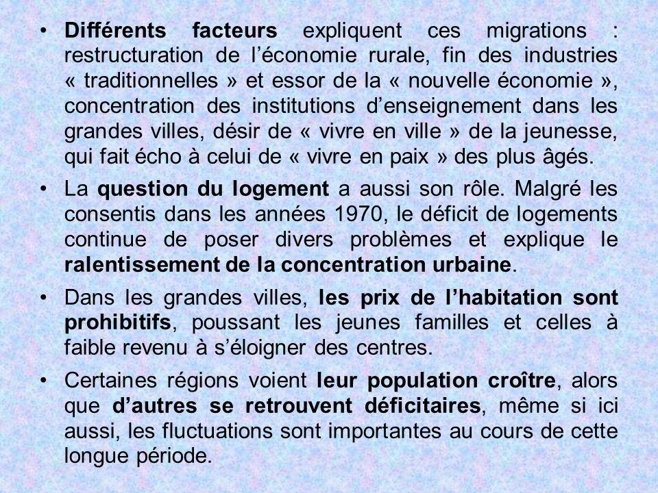 Différents facteurs expliquent ces migrations : restructuration de l'économie rurale, fin des industries « traditionnelles » et essor de la « nouvelle