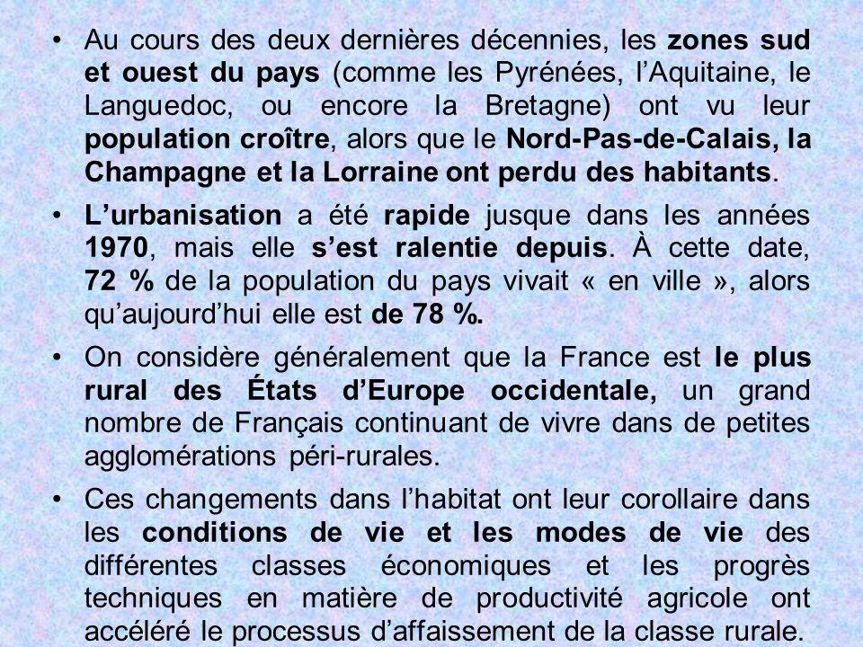 Au cours des deux dernières décennies, les zones sud et ouest du pays (comme les Pyrénées, l'Aquitaine, le Languedoc, ou encore la Bretagne) ont vu le