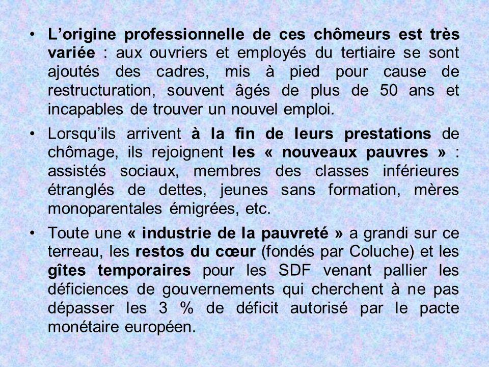 L'origine professionnelle de ces chômeurs est très variée : aux ouvriers et employés du tertiaire se sont ajoutés des cadres, mis à pied pour cause de