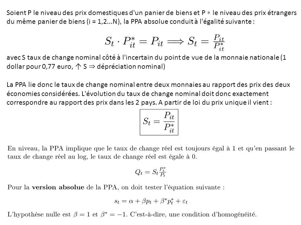 Soient P le niveau des prix domestiques d'un panier de biens et P ∗ le niveau des prix étrangers du même panier de biens (i = 1,2...N), la PPA absolue