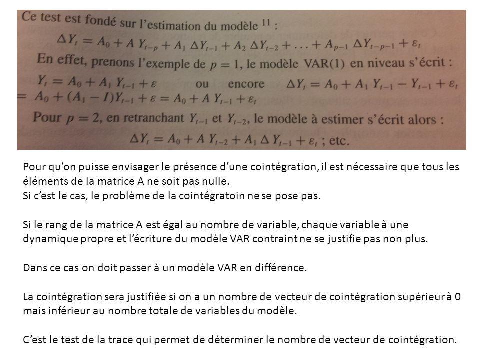 Pour qu'on puisse envisager le présence d'une cointégration, il est nécessaire que tous les éléments de la matrice A ne soit pas nulle. Si c'est le ca