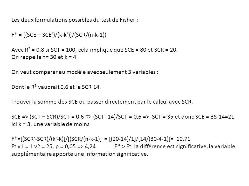 Les deux formulations possibles du test de Fisher : F* = [(SCE – SCE')/(k-k')]/(SCR/(n-k-1)) Avec R² = 0,8 si SCT = 100, cela implique que SCE = 80 et