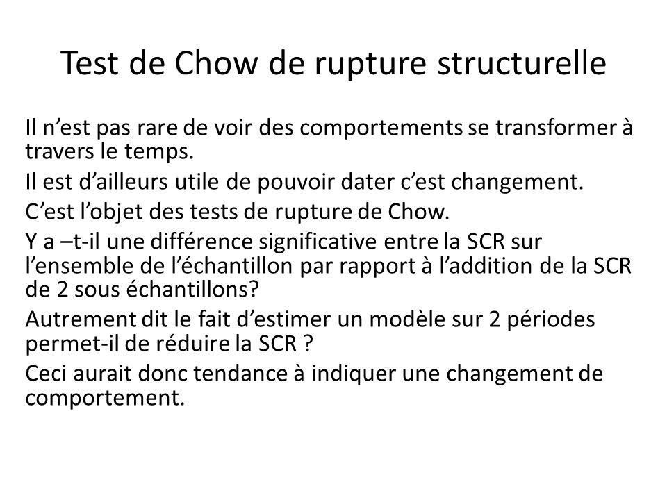 Test de Chow de rupture structurelle Il n'est pas rare de voir des comportements se transformer à travers le temps. Il est d'ailleurs utile de pouvoir