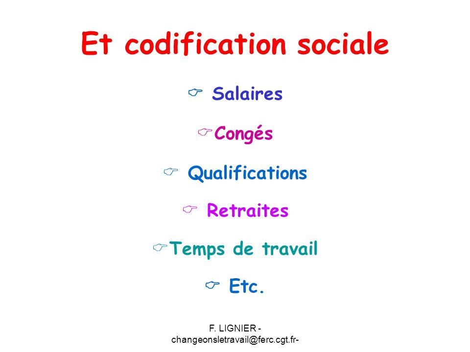 F. LIGNIER - changeonsletravail@ferc.cgt.fr- Et codification sociale  Salaires  Congés  Qualifications  Retraites  Temps de travail  Etc.